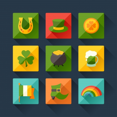 Saint Patrick's Day icons in flat design style. Stock Vector - 24346758