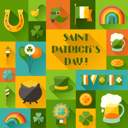 pot of gold: Saint Patricks Day background in flat design style.