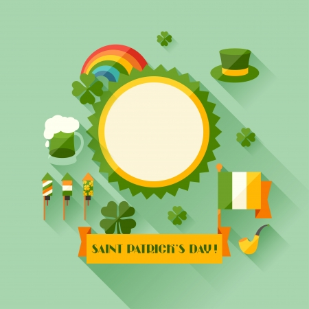 Saint Patricks Day greeting card in flat design style. Vector