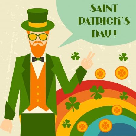 leprechaun on clover: Saint Patricks Day illustration with hipster leprechaun. Illustration