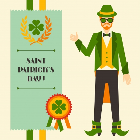 saint patricks: Saint Patricks Day illustration with hipster leprechaun. Illustration