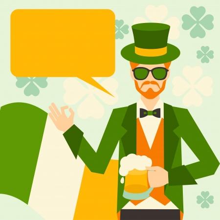 Saint Patricks Day illustration with hipster leprechaun. Vector
