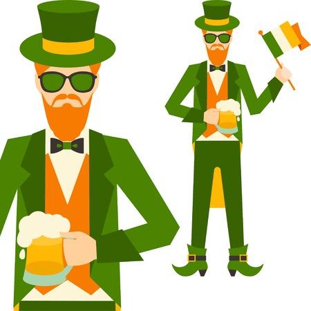 Saint Patrick's Day illustration with hipster leprechaun. Stock Vector - 24346798