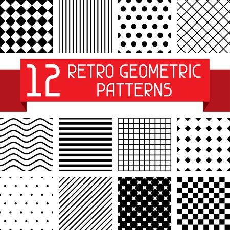 preto: Conjunto de 12 padrões geométricos retro. Ilustração