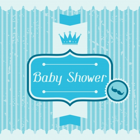 simple: Boy baby shower invitation card. Illustration