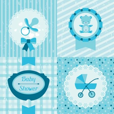 Boy baby shower invitation cards. Vector