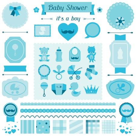 heart with crown: Boy baby shower set of elements for design.