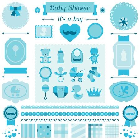 invitacion baby shower: Boy bebé juego de ducha de elementos de diseño.