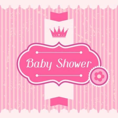 baby girl pink: Girl baby shower invitation card. Illustration