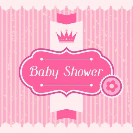 rayas de colores: Tarjeta de Baby Shower Chica invitaci�n. Vectores