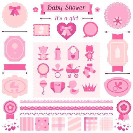 Girl baby shower set of elements for design. Vector