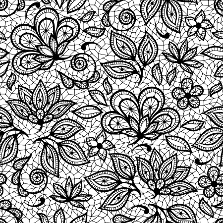 lacework: Old lace seamless pattern, ornamental flowers. Vector texture. Illustration