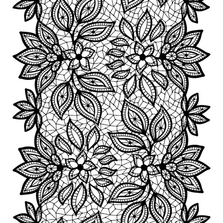 womanly: Old lace seamless pattern, ornamental border. Vector texture.