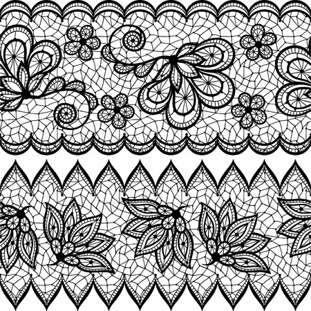 Old lace seamless pattern, ornamental border. Vector texture. Vector