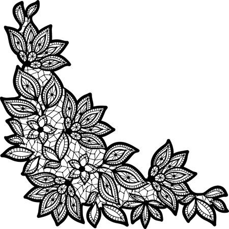 Disegno floreale nero e pizzo isolato su bianco. Archivio Fotografico - 24579181