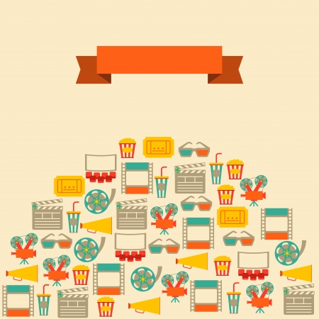 Movie and cinema retro background. Vector