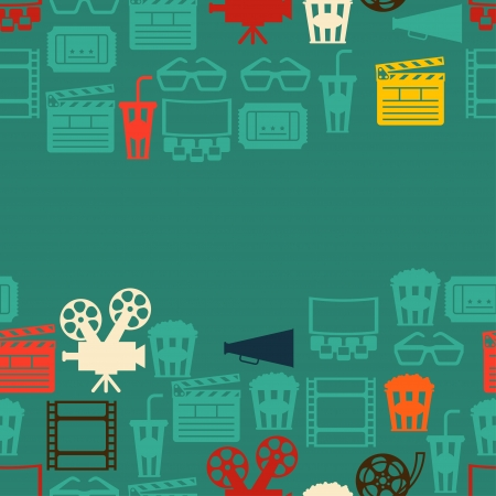 Seamless pattern of movie elements and cinema icons. Vector