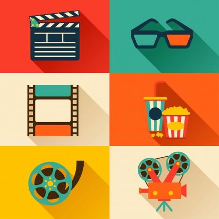 Conjunto de elementos de diseño de la película y los iconos del cine de estilo plano.