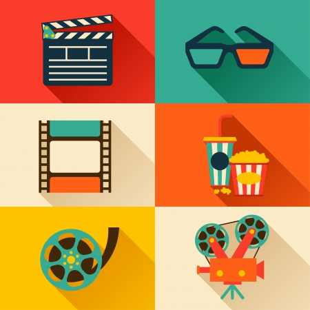 clap: Set of movie design elements and cinema icons in flat style.