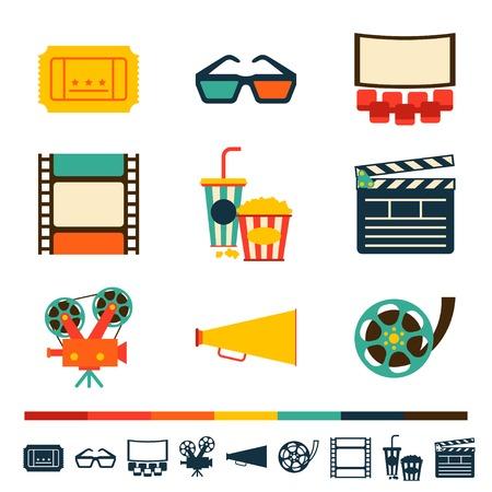 Insieme di elementi di design del film e icone del cinema. Vettoriali