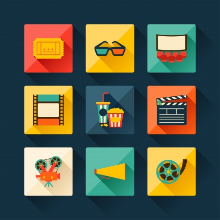 cinema screen: Set of movie design elements and cinema icons in flat style.