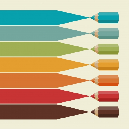 pencil box: Creative infographics background with colored pencils  Illustration