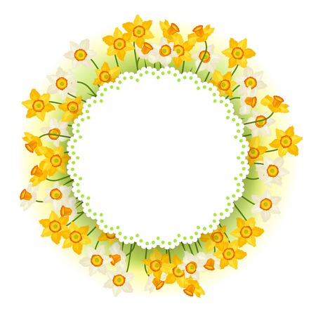 Spring flowers narcissus natural background. Vector