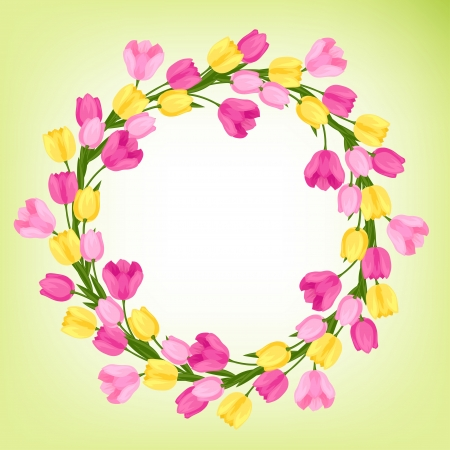 circulaire: Fleurs de printemps tulipes fond naturel. Illustration