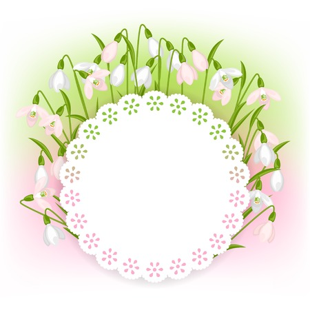 Spring flowers snowdrops natural background. Vector
