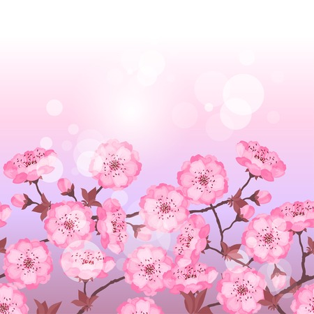 Spring sakura flowers seamless pattern horizontal border. Vector