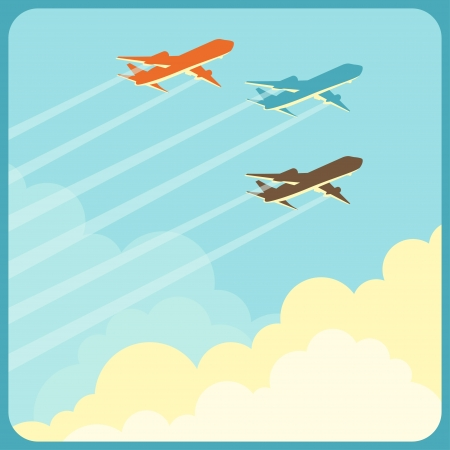 air cargo: Illustration of airplanes flying in the sky over clouds. Illustration