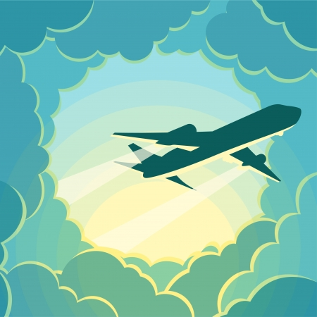 paper airplane: Plane flies through the clouds. Illustration