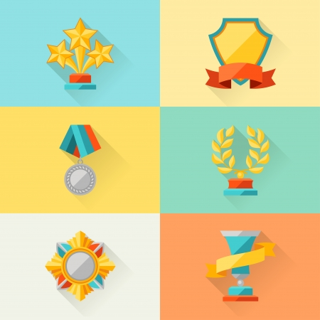 orden: Trophy and awards in flat design style  Illustration