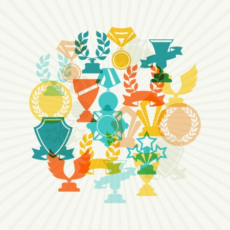orden: Background with trophy and awards  Illustration