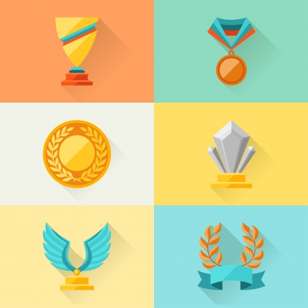 award winning: Trophy and awards in flat design style  Illustration