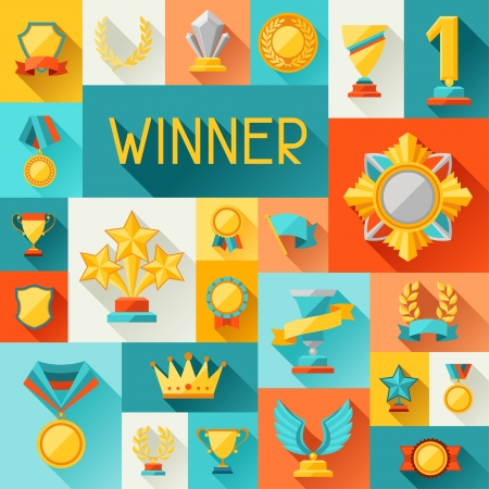 campeão: Fundo com troféu e prêmios em estilo design plano