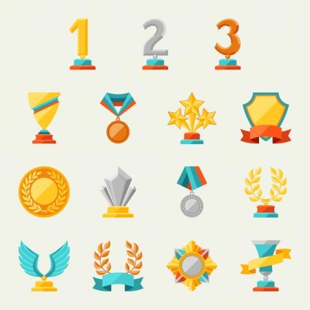 trofeo: Trofeos y premios iconos conjunto Vectores