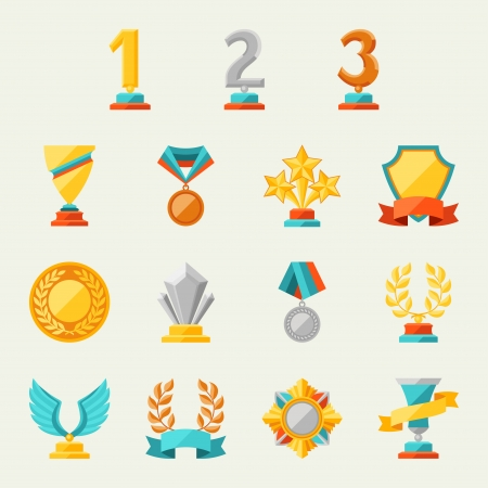 silver ribbon: Trophy and awards icons set