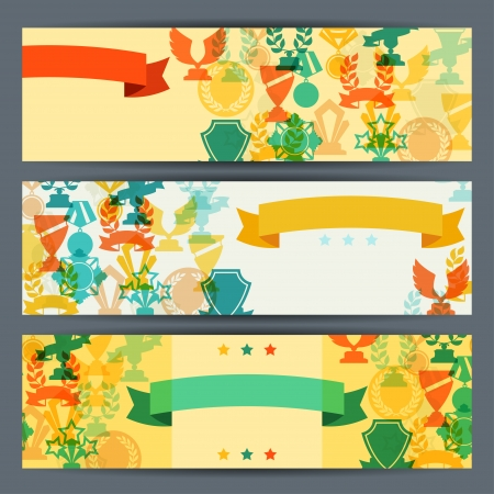 horizontal banner: Horizontal banners with trophies and awards.