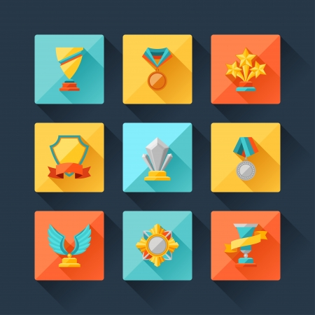 prize: Trophy and awards icons set in flat design style.