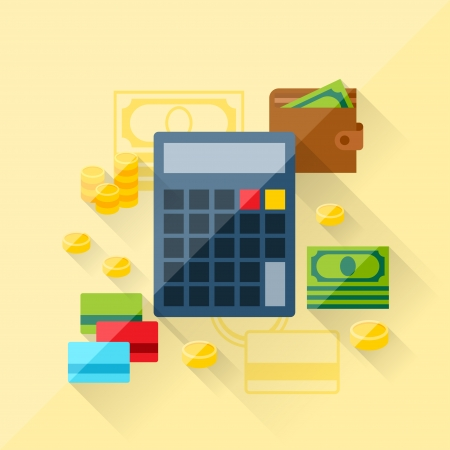 earn money: Illustration concept of loan calculator in flat design style. Illustration