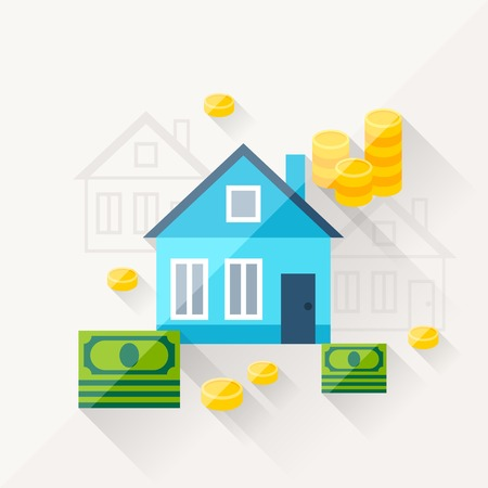 Home Economics: Illustration Concept Of Mortgage In Flat Design Style.