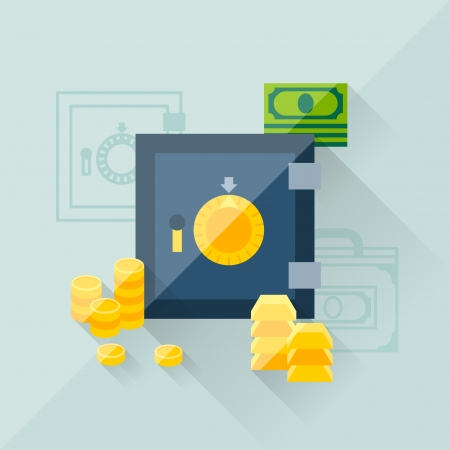 Illustration concept of savings in flat design style. Vector