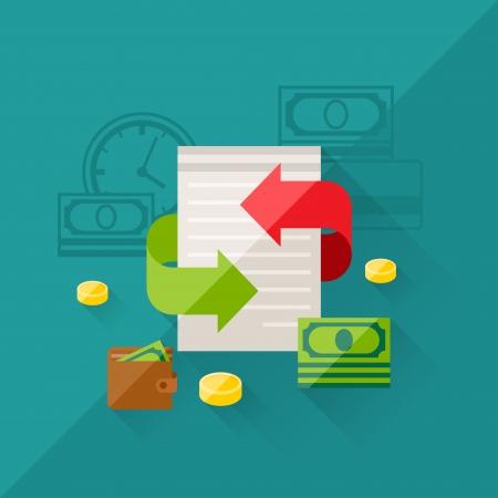 Ilustración concepto de refinanciación en el estilo de diseño plano. Ilustración de vector