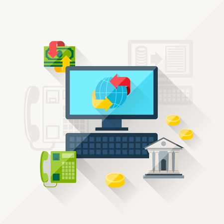 Illustration concept of banking online in flat design style. Vector