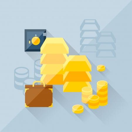 treasury: Illustration concept of precious metals in flat design style.