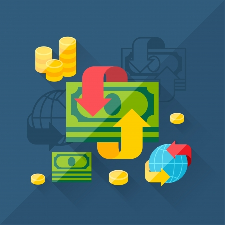 foreign currency: Illustration concept of exchange in flat design style.
