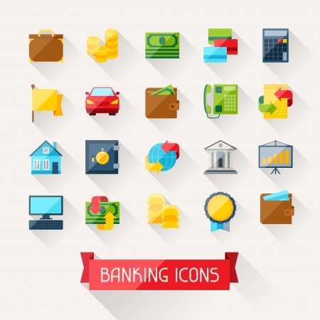 Set of banking icons in flat design style. Vector