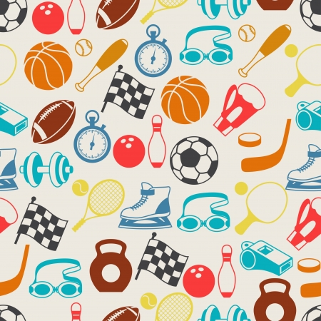 Seamless pattern of sport icons. Vector