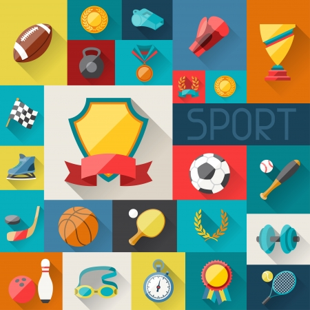 sports equipment: Background with sport icons in flat design style.